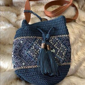 The Sak Blue-Brown- Ivory crochet/macramé Purse